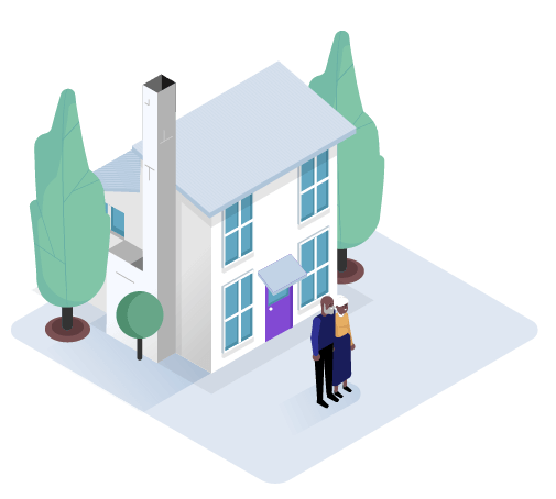 An old couple standing next to their nice house