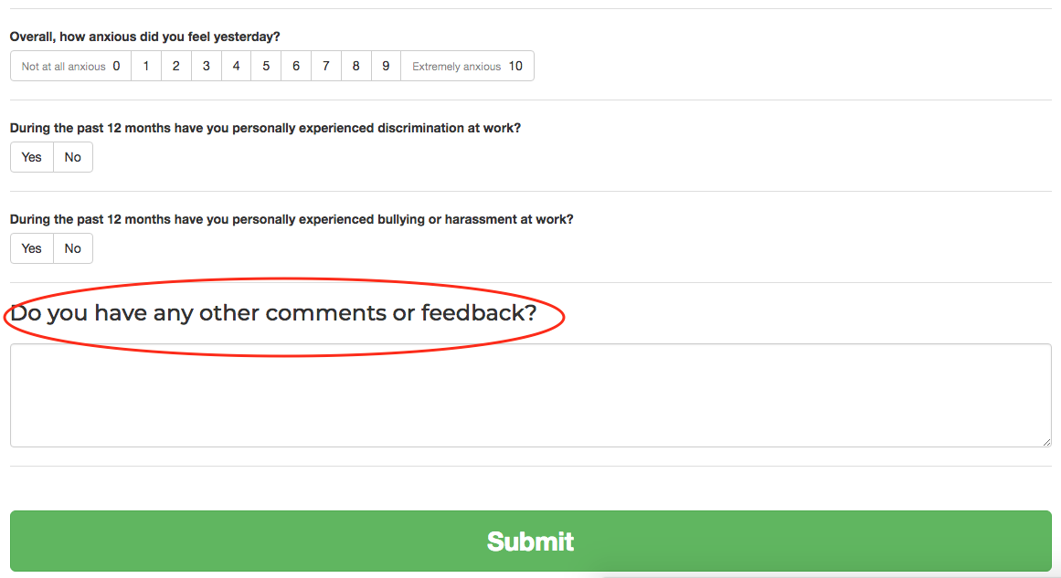 Comments box at end of survey