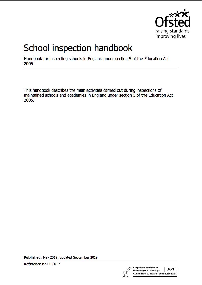 Ofsted Inspection Handbook September 2019