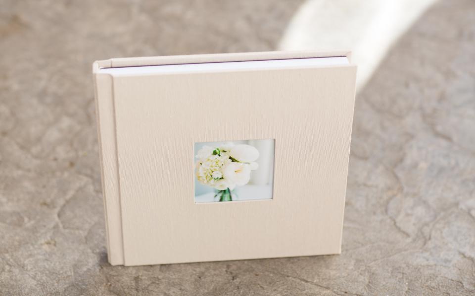 Wedding album in fabric autumn with cameo