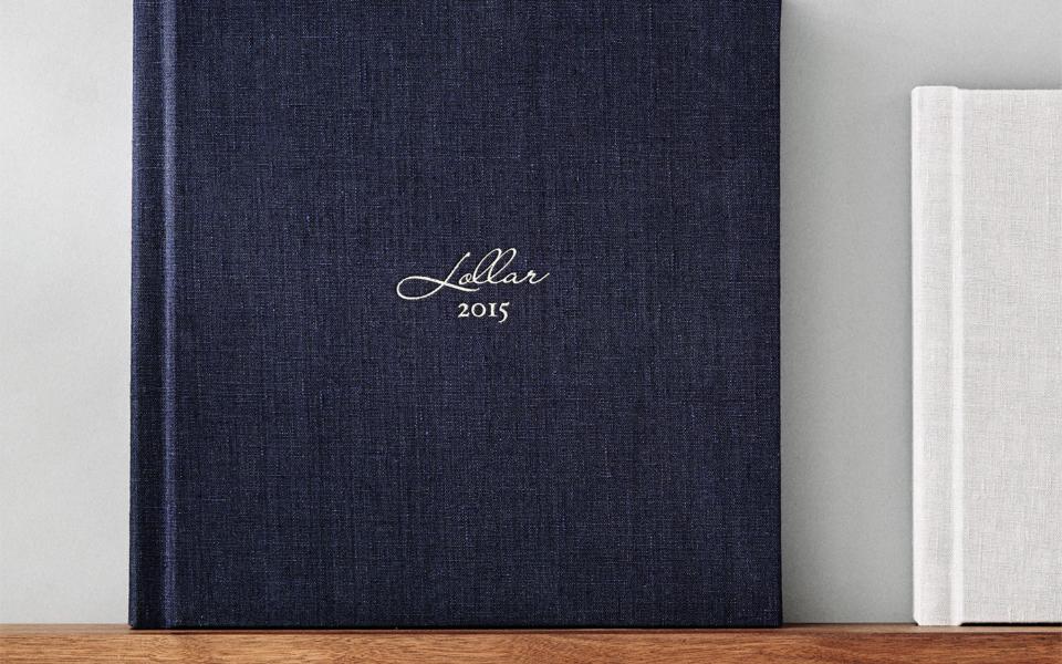 Wedding album in fabric deep sea with custom foil deboss
