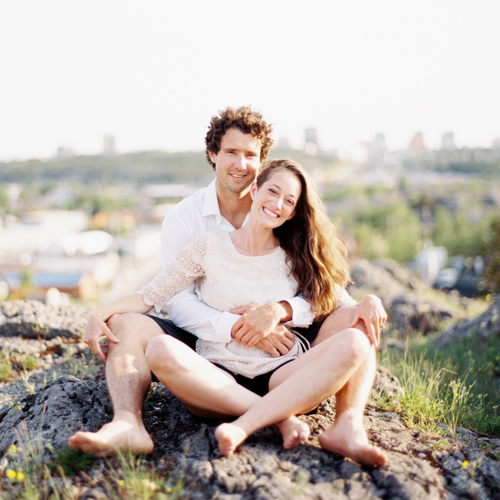 Erin and Robbin's Yellowknife Engagement Photos in Old Town