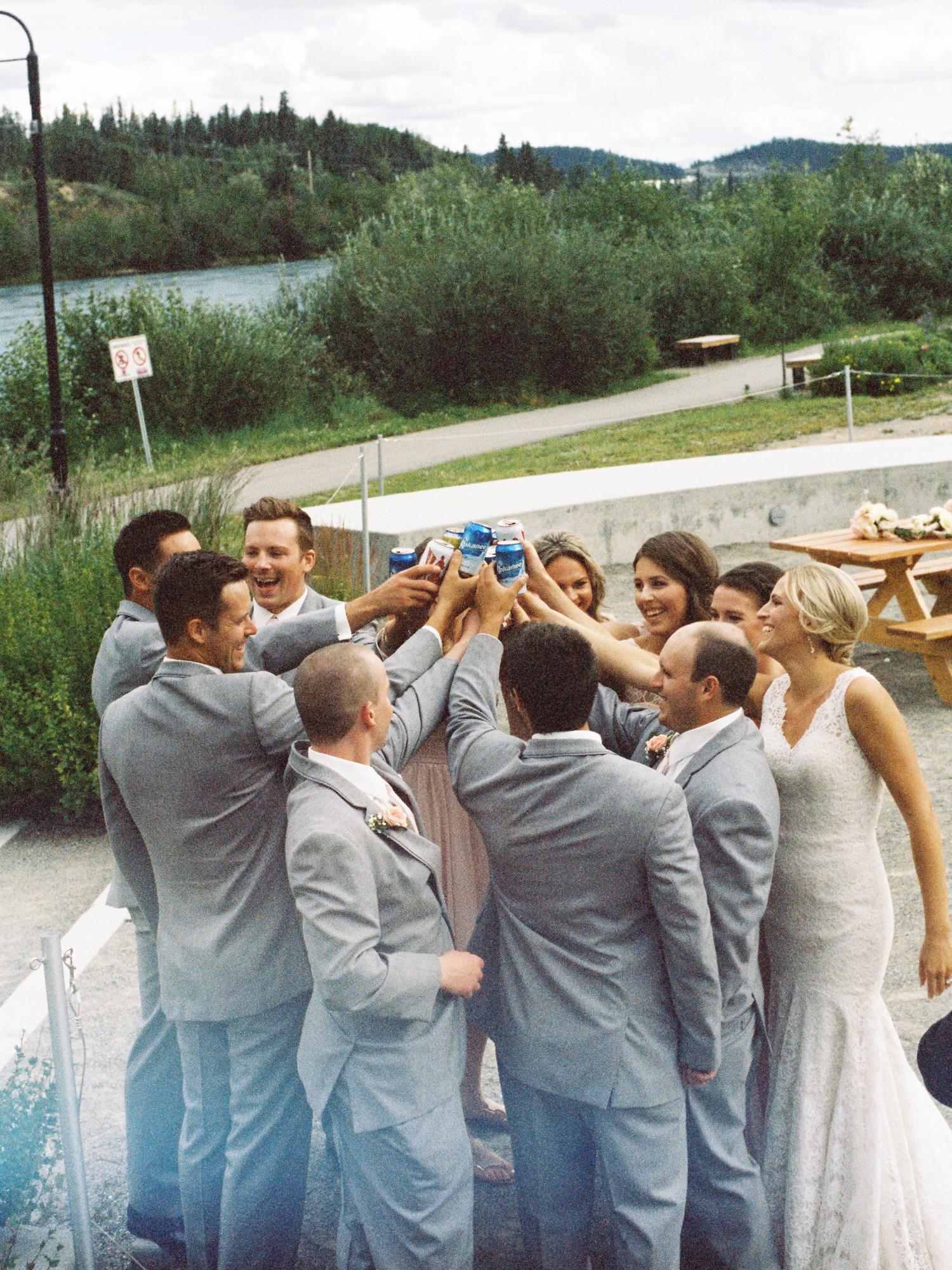 Wedding party celebrating after ceremony