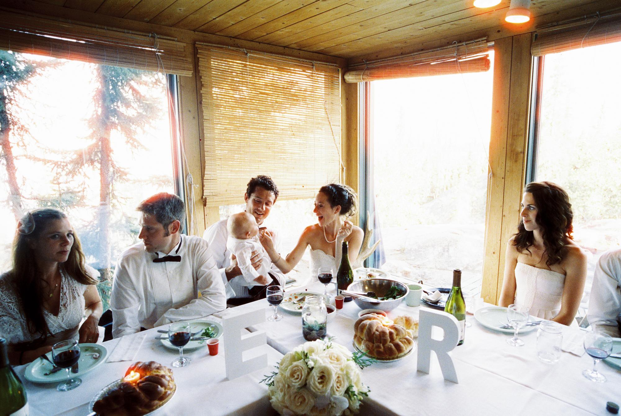 Wedding reception at Blatchford Lake Lodge, NWT