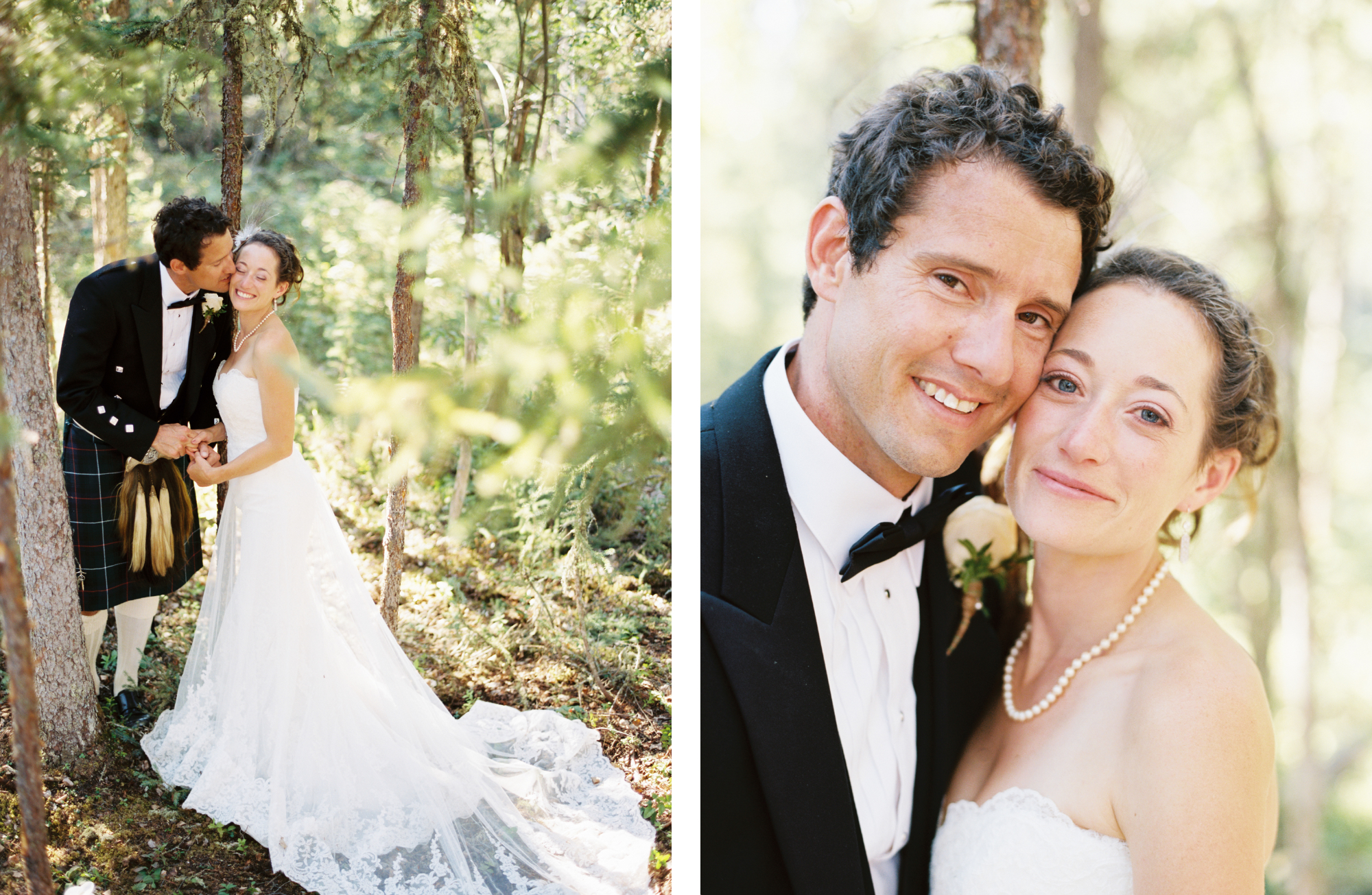 Portrait of bride and groom in forest