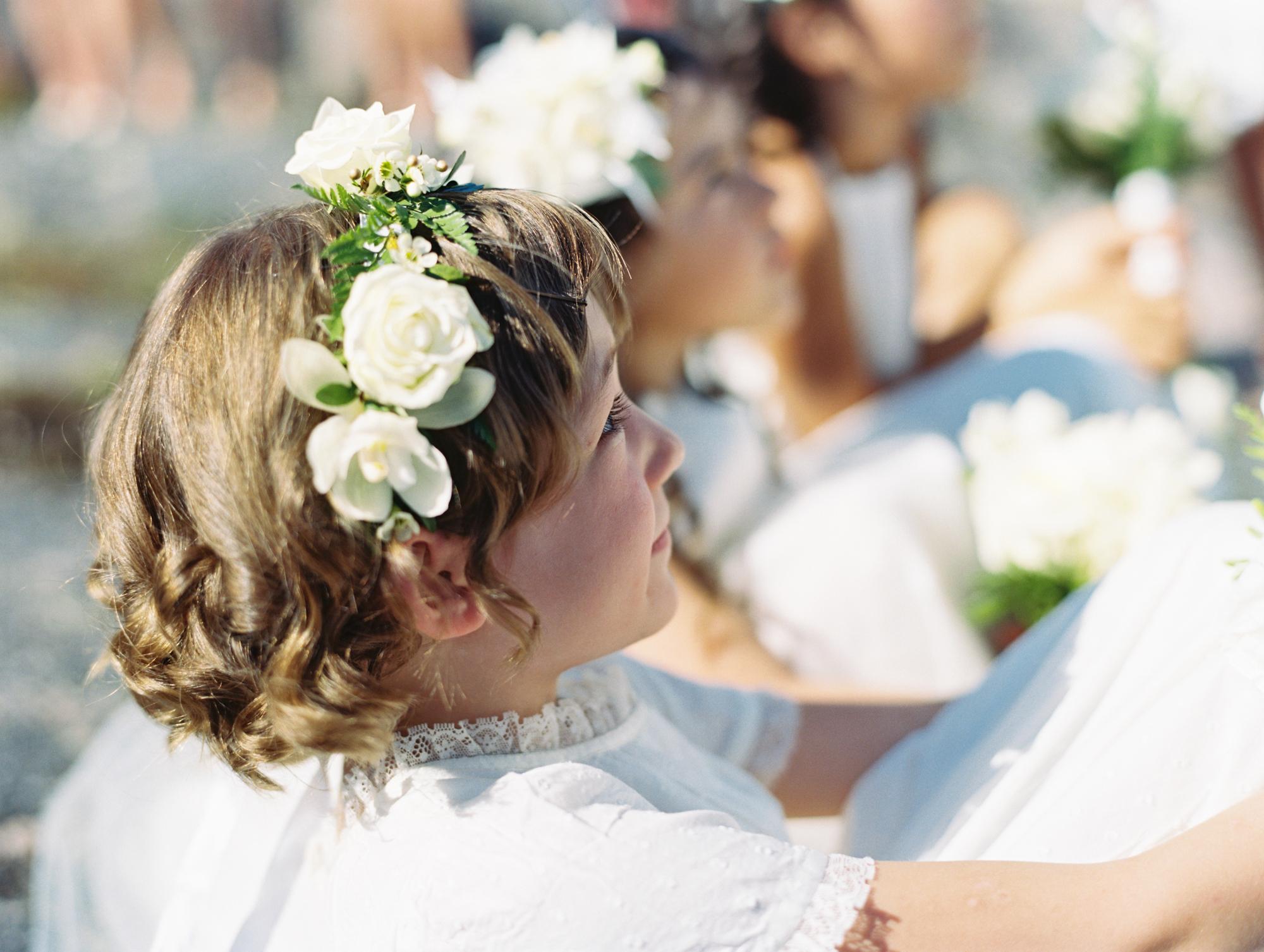Bride's daughter watching ceremony