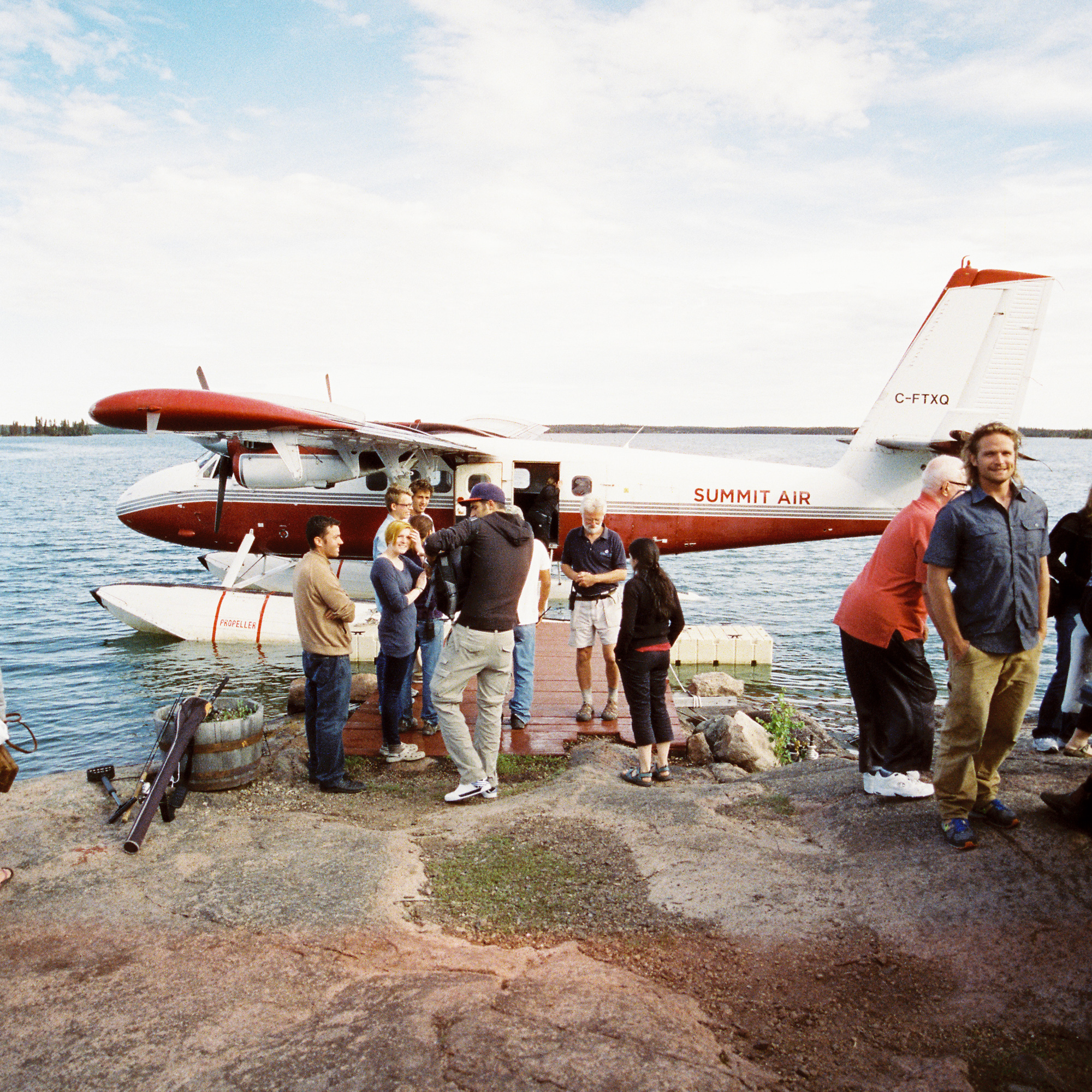 Friends and family arriving from Yellowknife to the lodge on a float plane