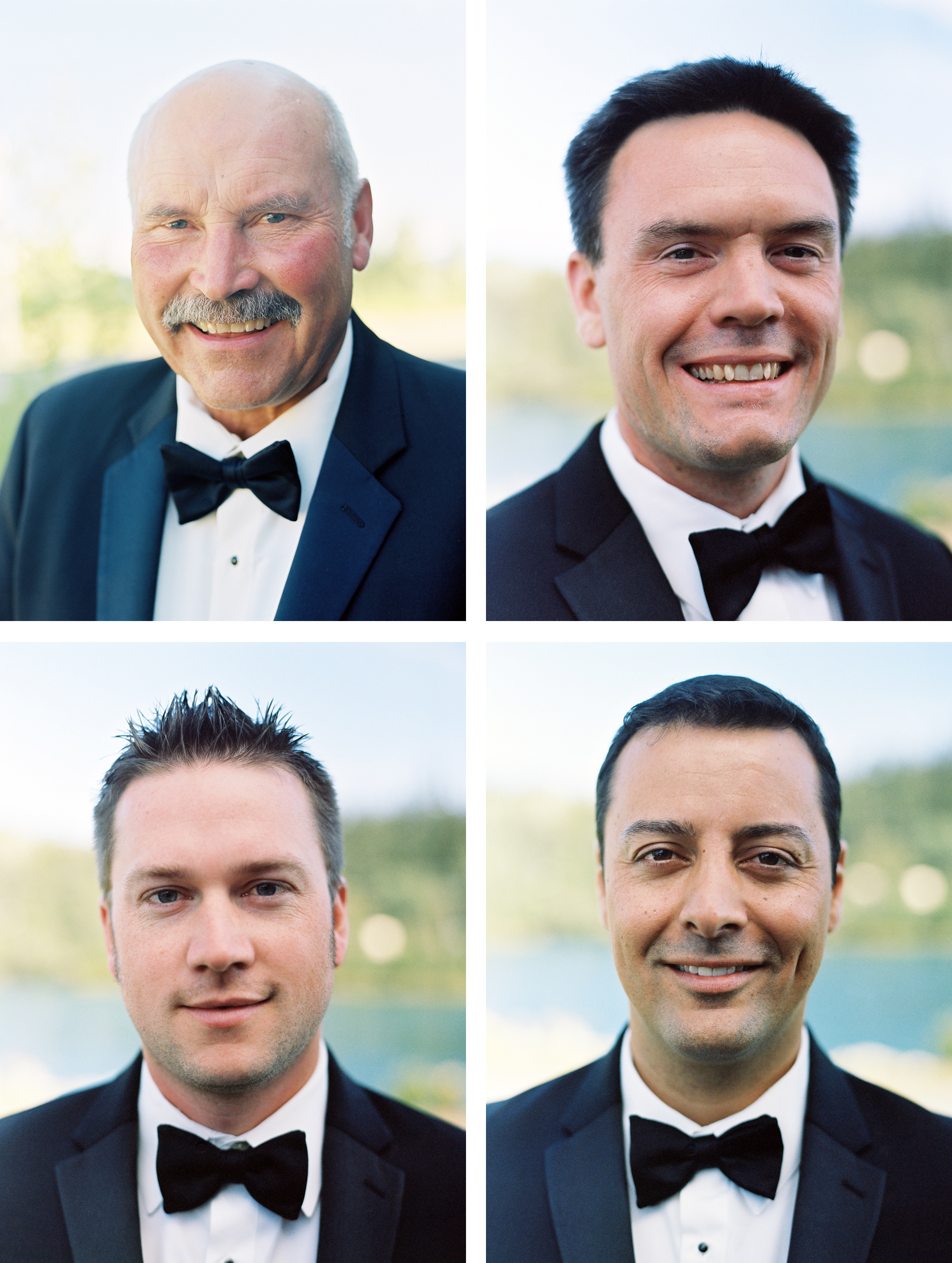 Portraits of groomsmen and brides father