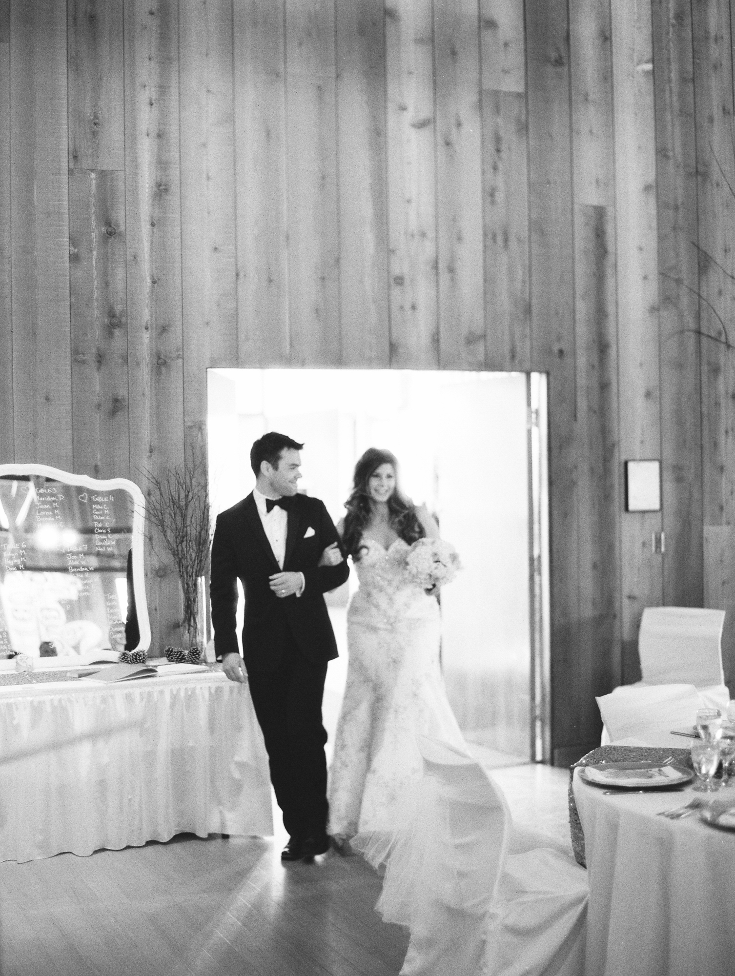 Bride and groom entering the hall