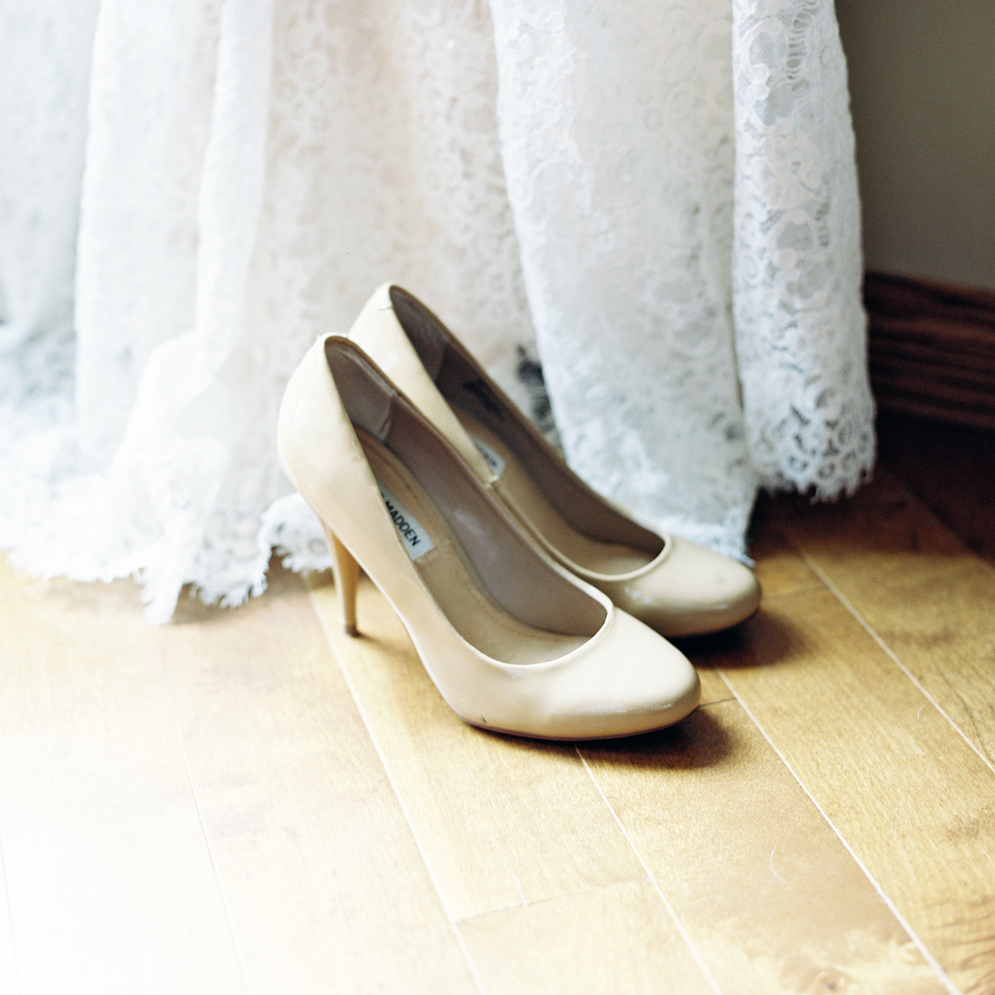 Wedding dress and shoes detail