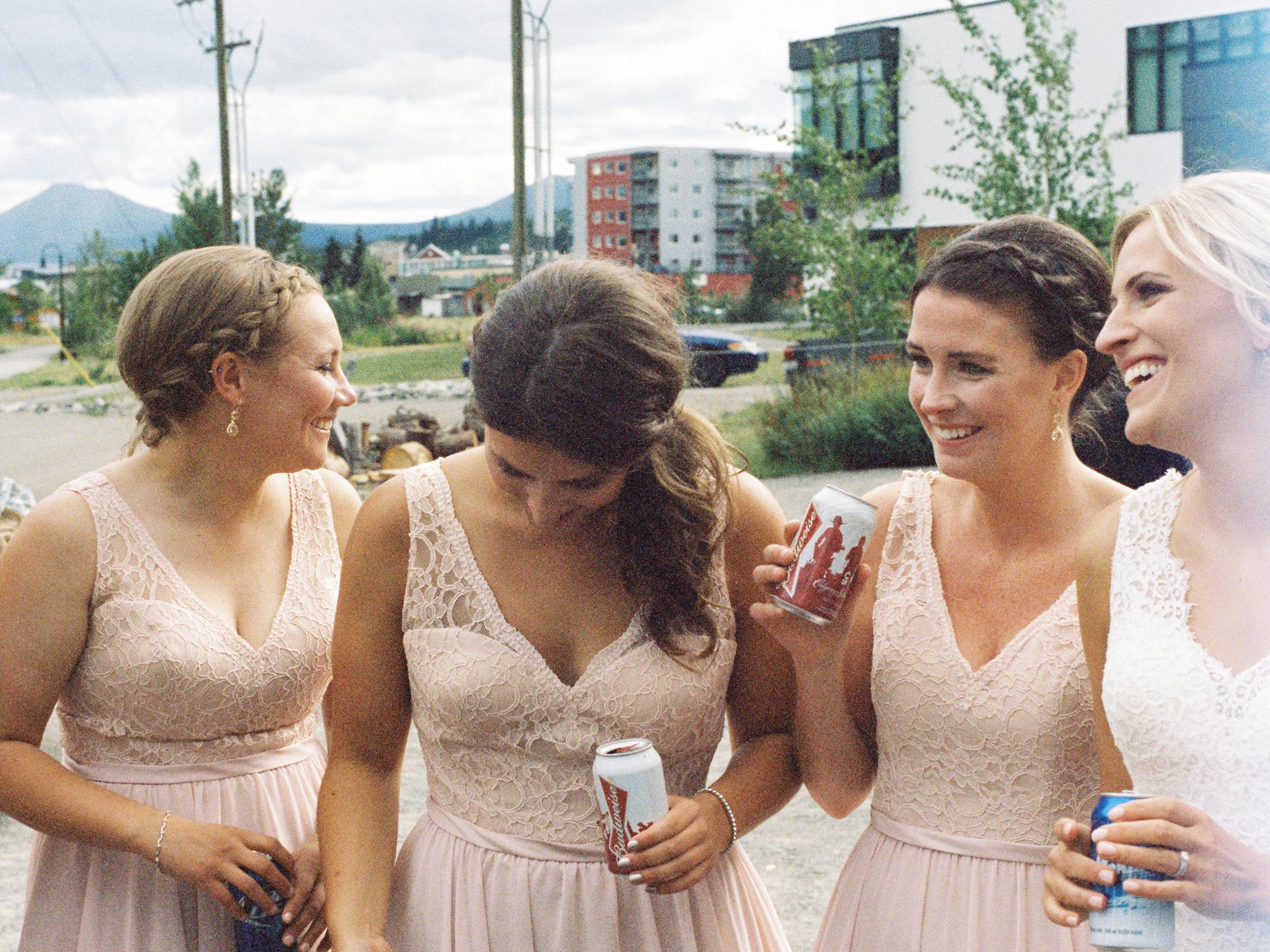 Bridesmaids celebrating after ceremony