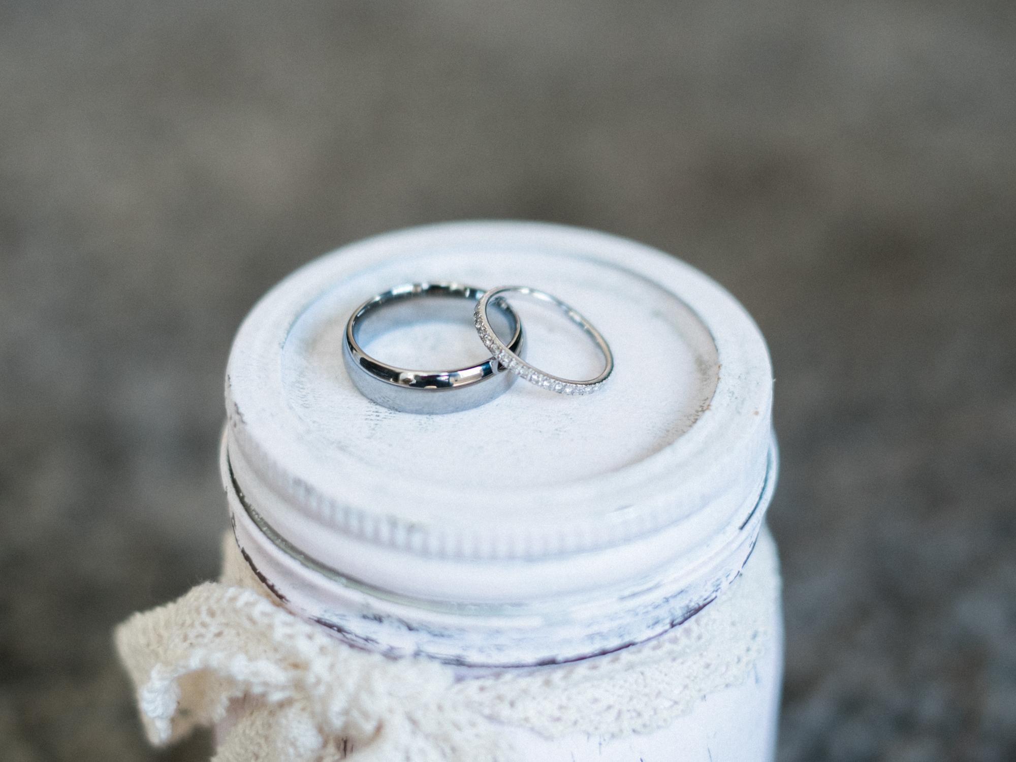 Close-up of wedding bands