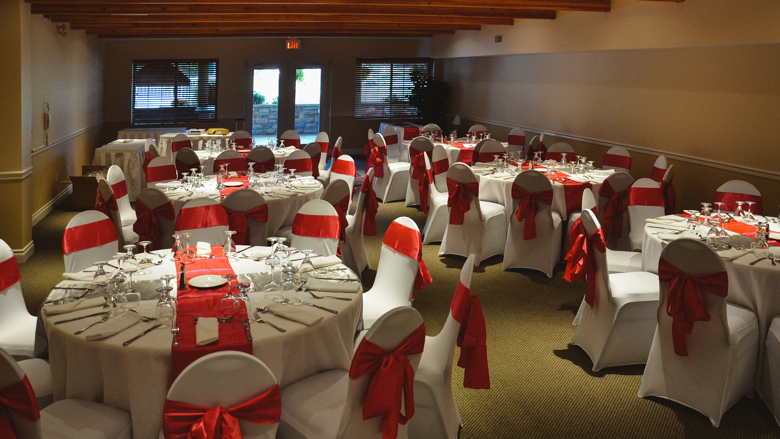 Wedding decorations set-up in the Kentucky room at the South Thompson Inn & Conference Centre.