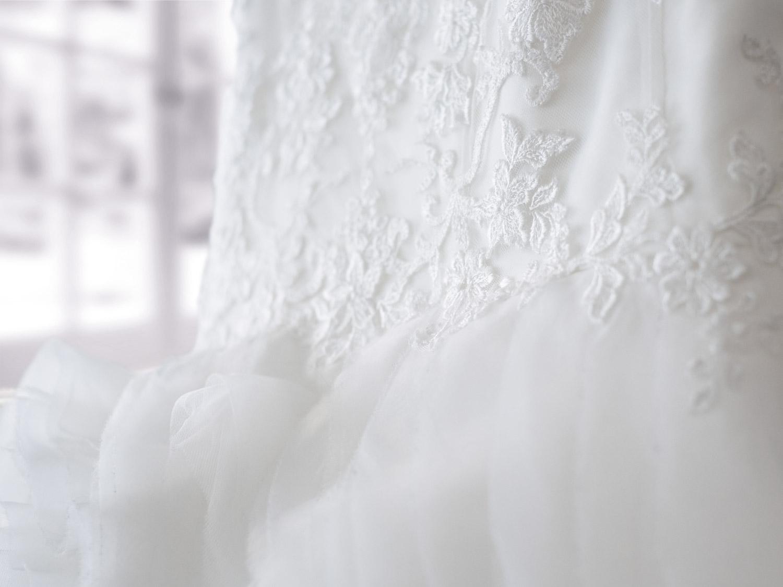 Detail shot of wedding dress.