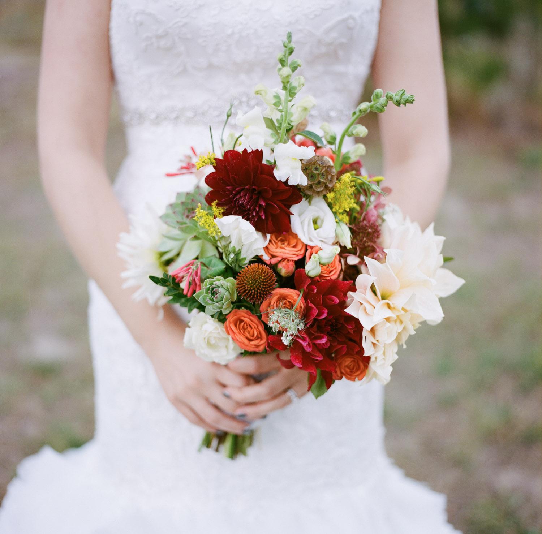 Detail shot of Bride with flowers Ceremony in Kamloops.