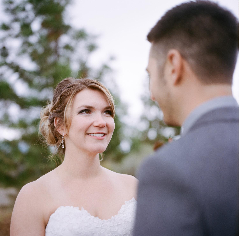 Bride and groom in kamloops.