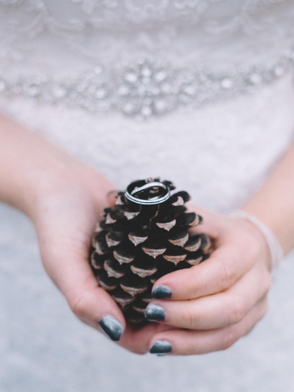 Detail shot of wedding rings.