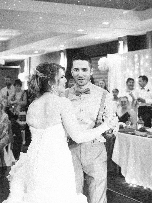 Bride and groom dancing in Kamloops at Hotel 540 wedding.