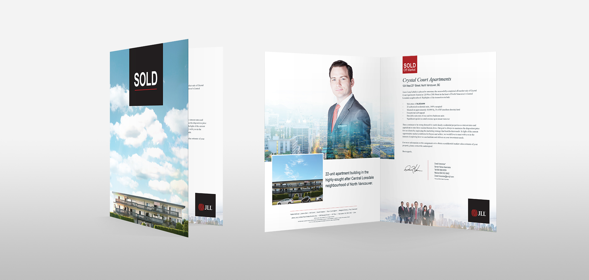 Print design sample of brochure for JLL commercial real estate services.
