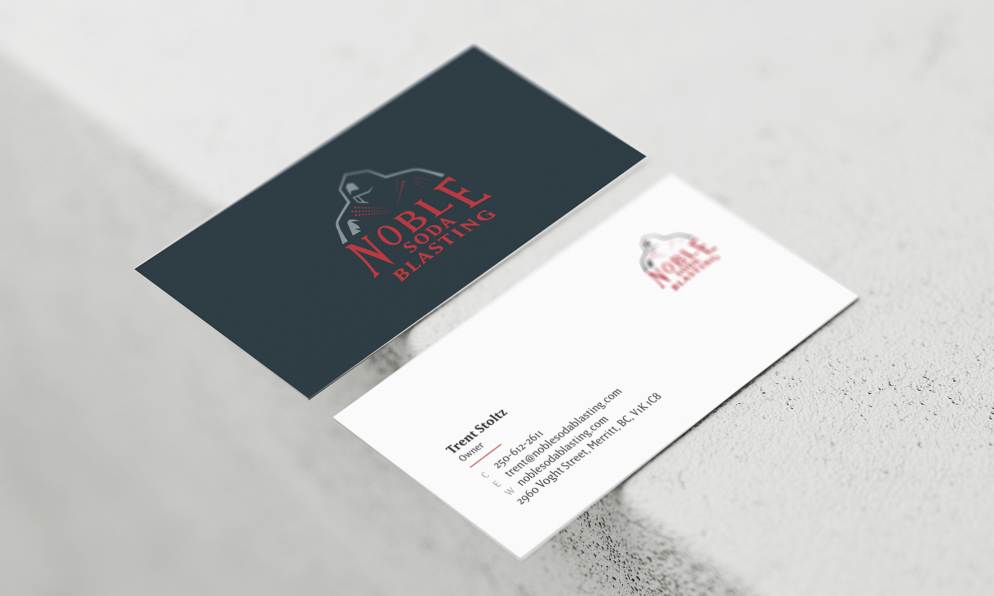 Example of business card design for Noble Soda Blasting.