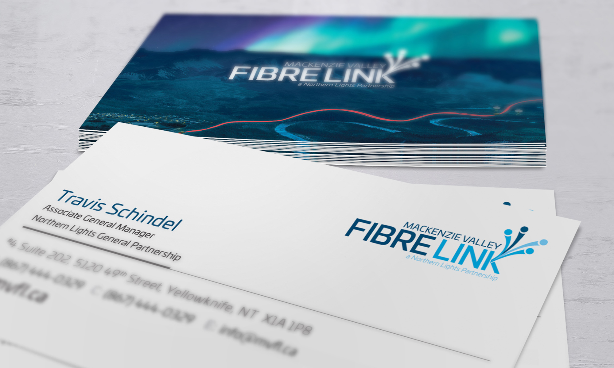 Example of business card design for Mackenzie Valley Fibrelink.