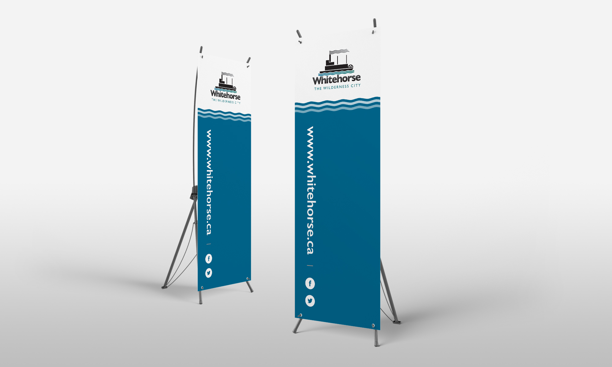 Example of pop up banners designed for City of Whitehorse.