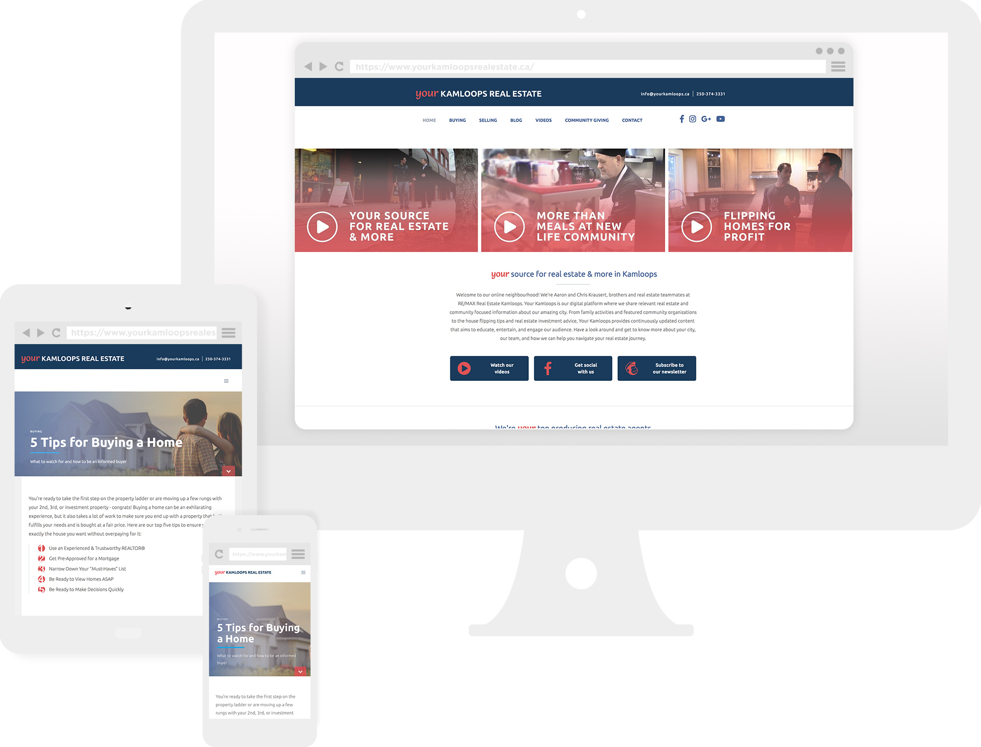 Showcase of new responsive website for Your Kamloops Real Estate