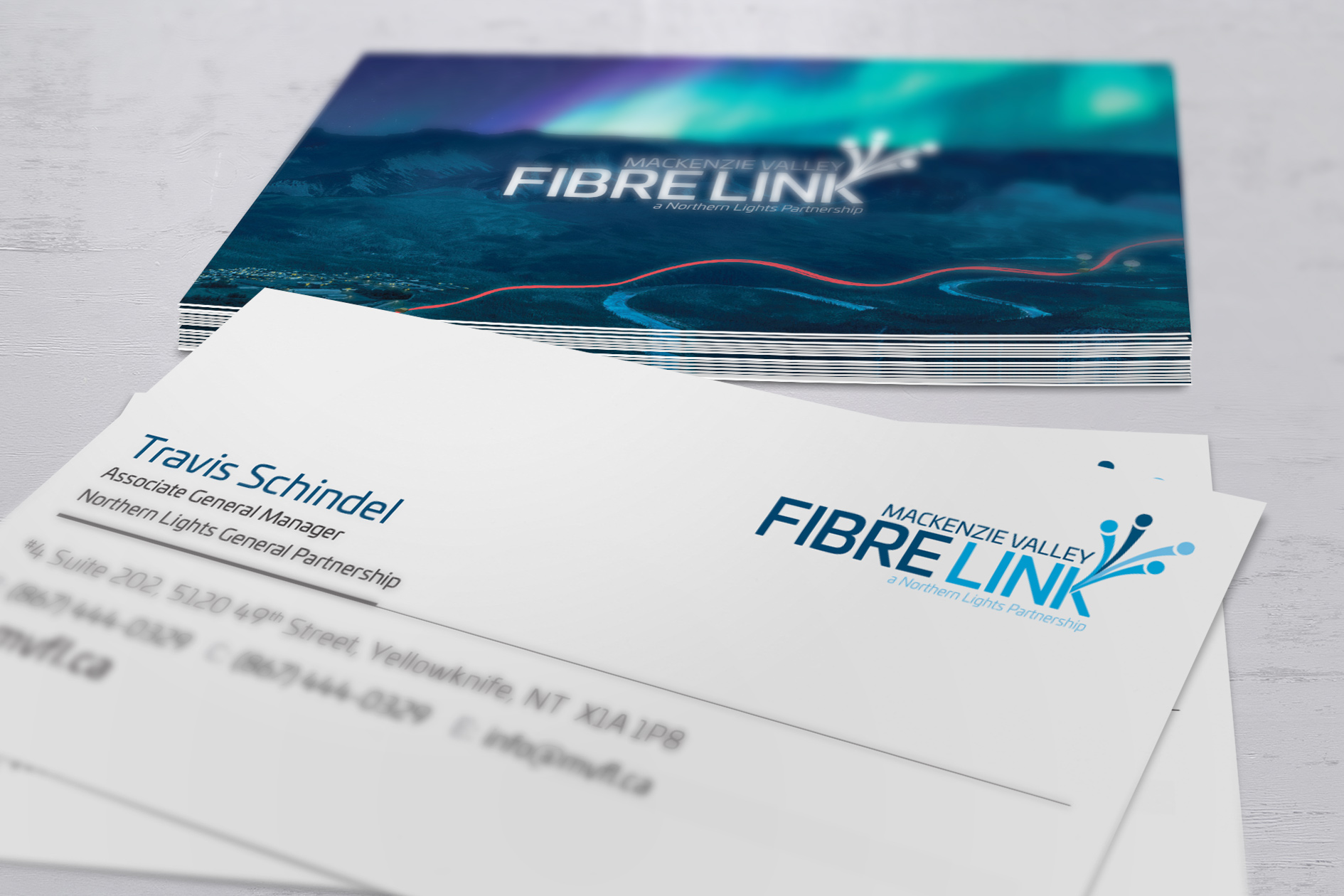 Close up photo of business cards for the Mackenzie Valley Fibre Link.