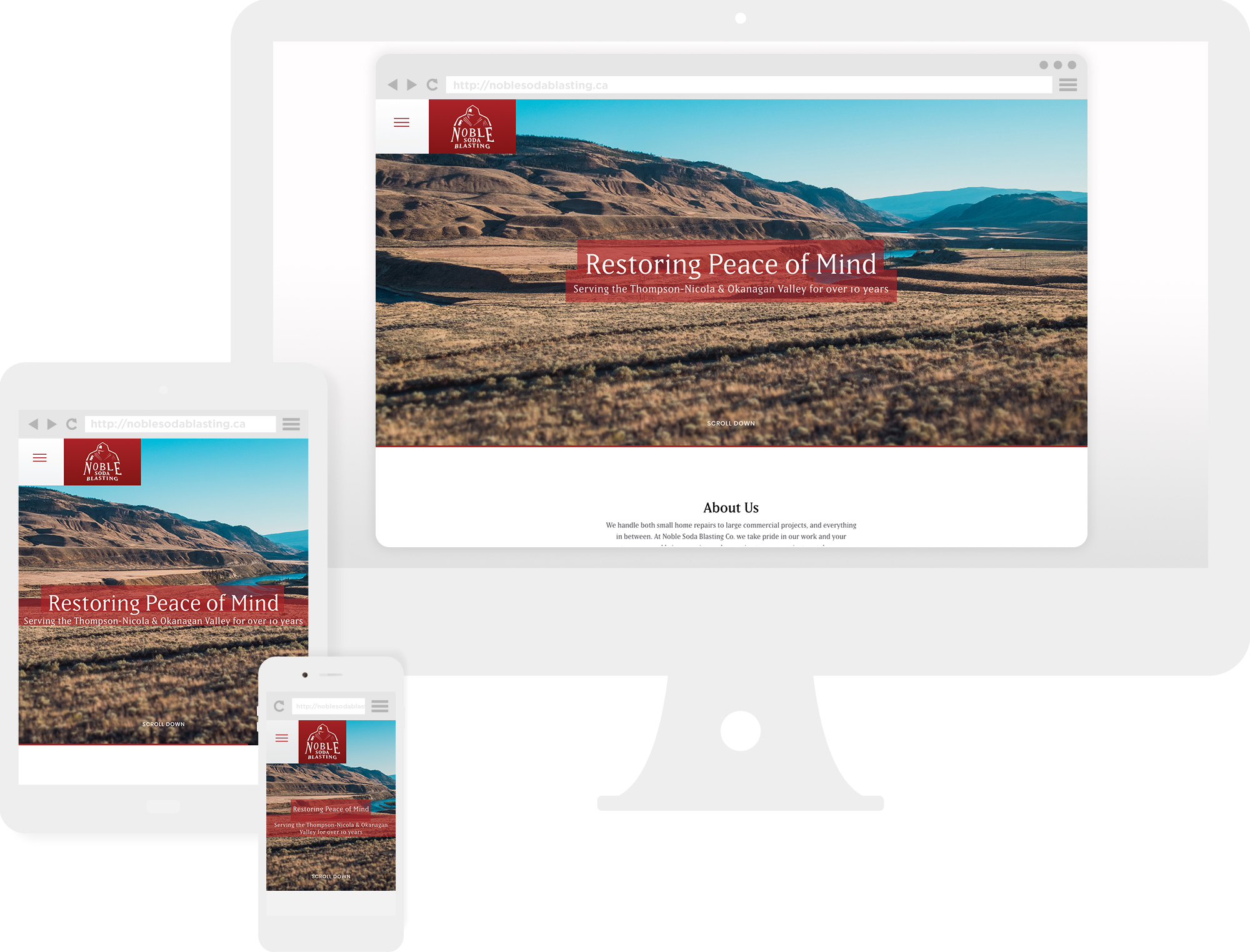 Preview of new website showing on desktop, tablet, and mobile versions.
