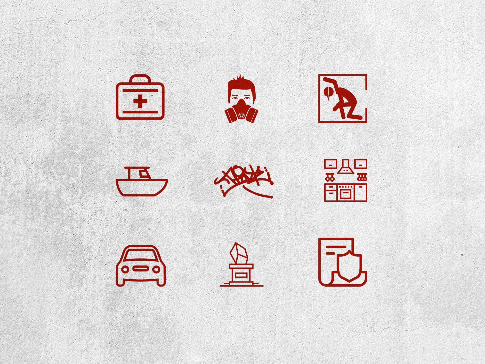 Custom designed icons for website.