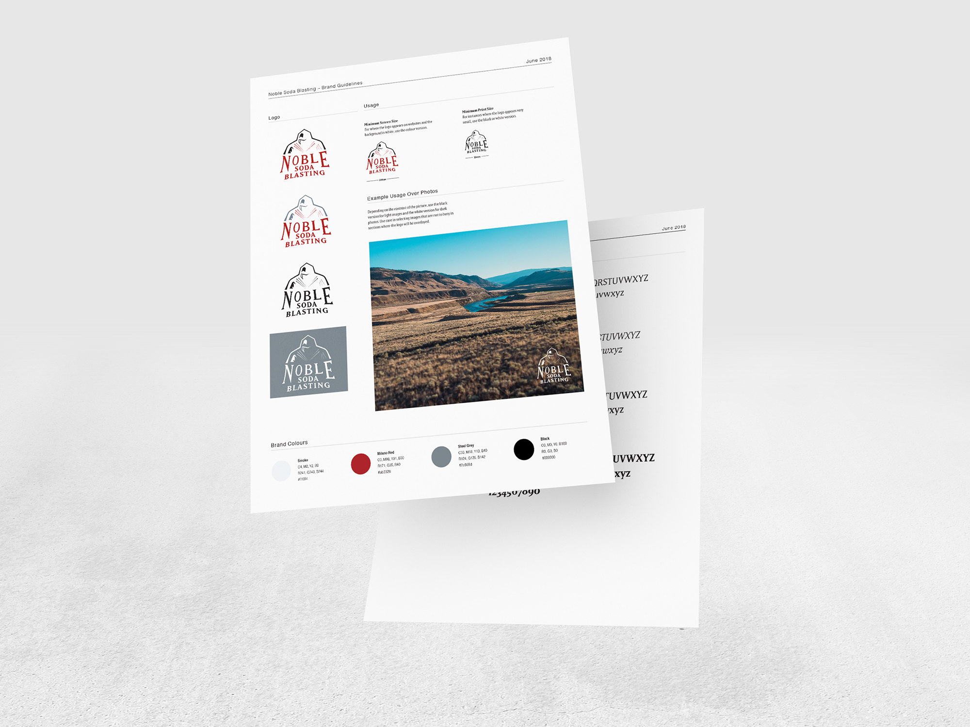 Sample of brand guidelines front and back with logo versions, colour pallet, and fonts.