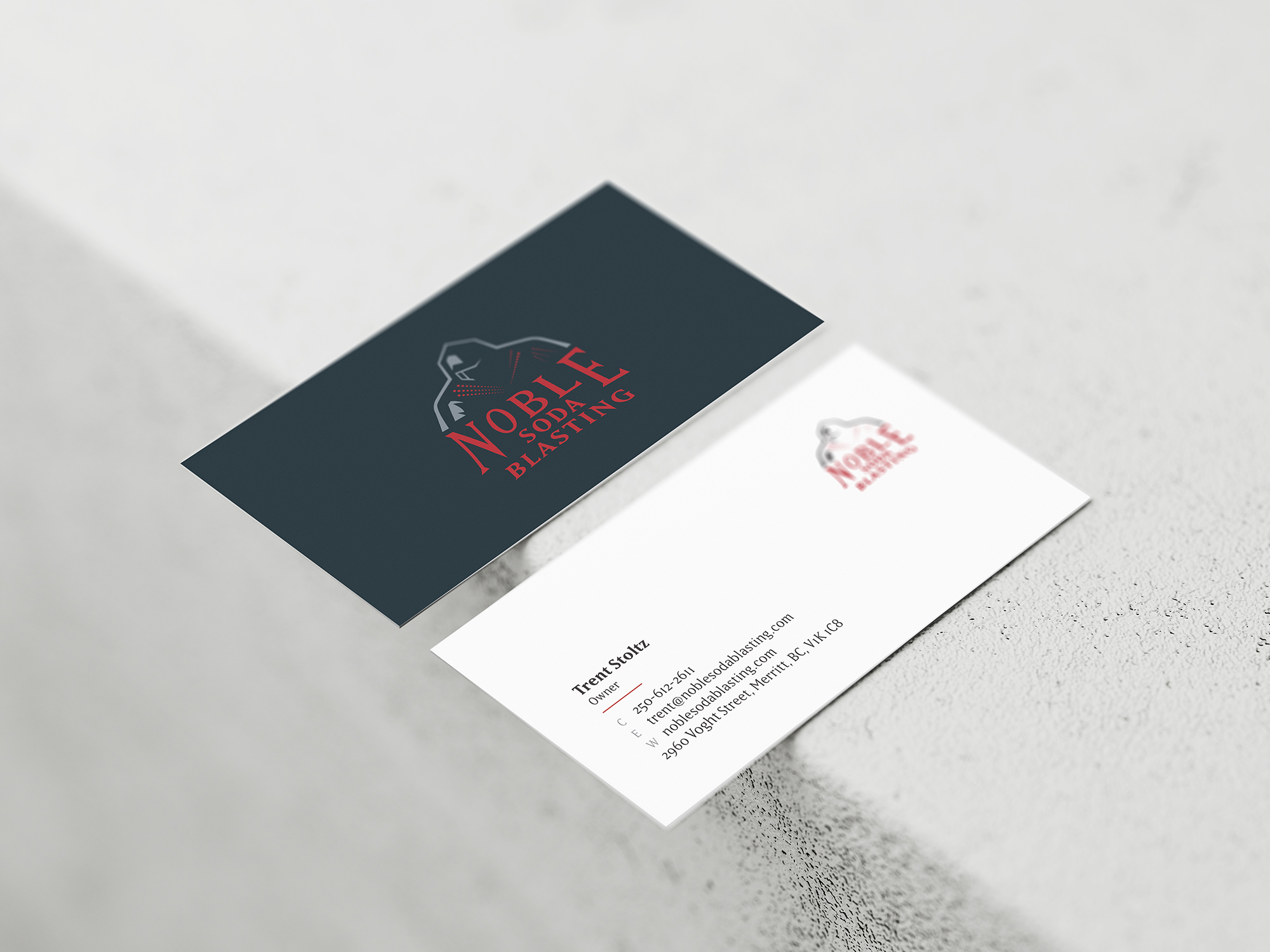 Business cards designed front and back example.