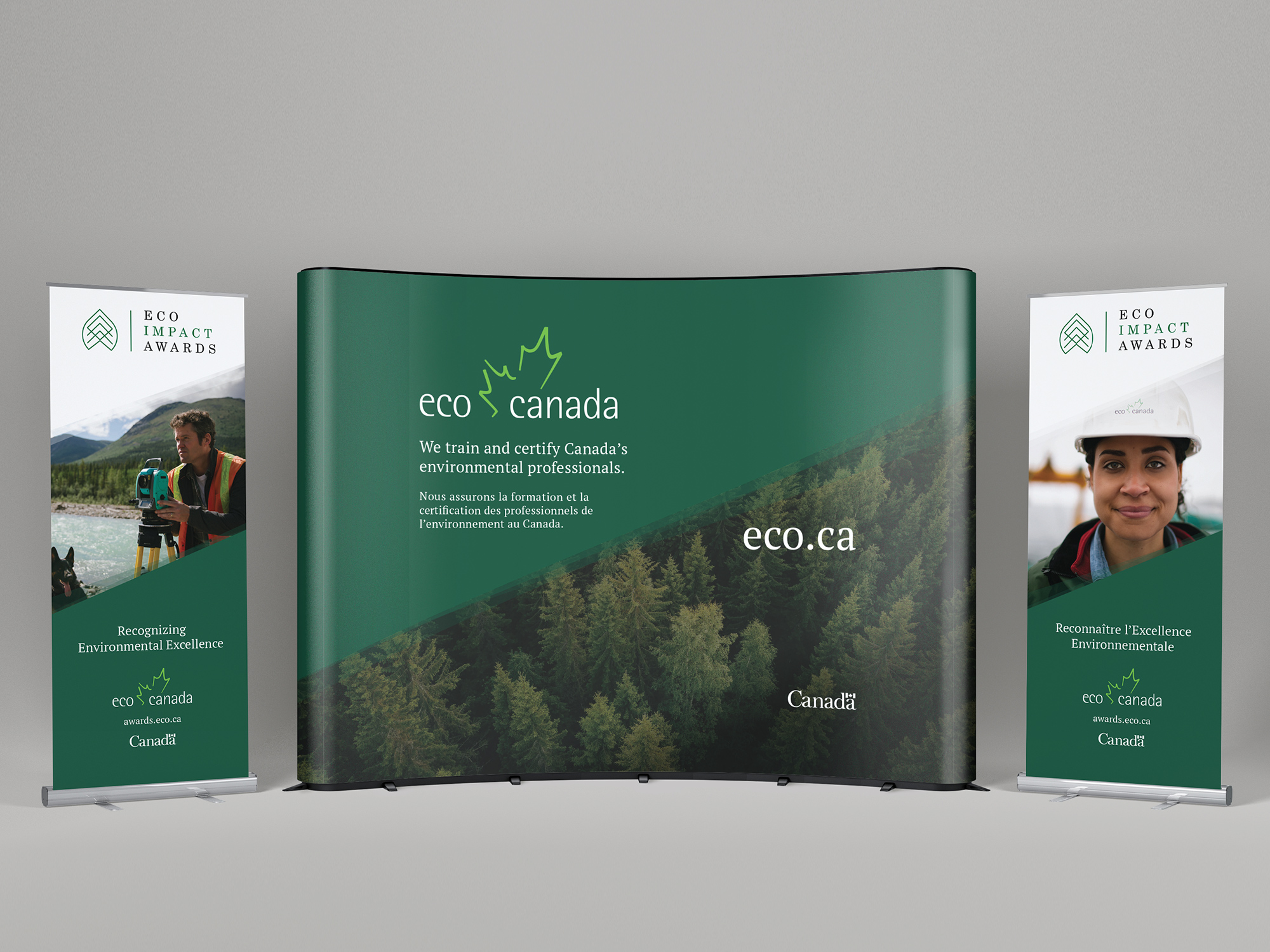 Trade show booth and pop-up banner design for ECO Canada.
