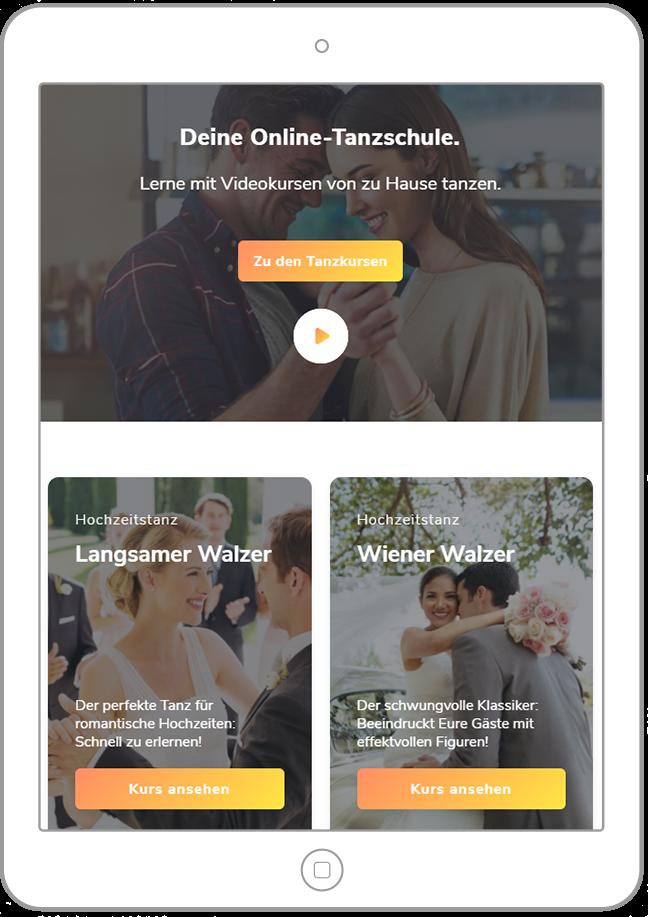 Doodance Webseite auf Tablet
