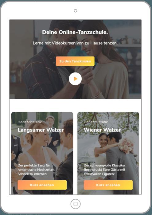 Tablet mit Doodance Webseite