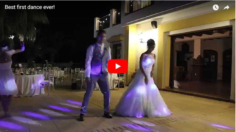 Brautpaar bei außergewöhnlichem Hochzeitstanz