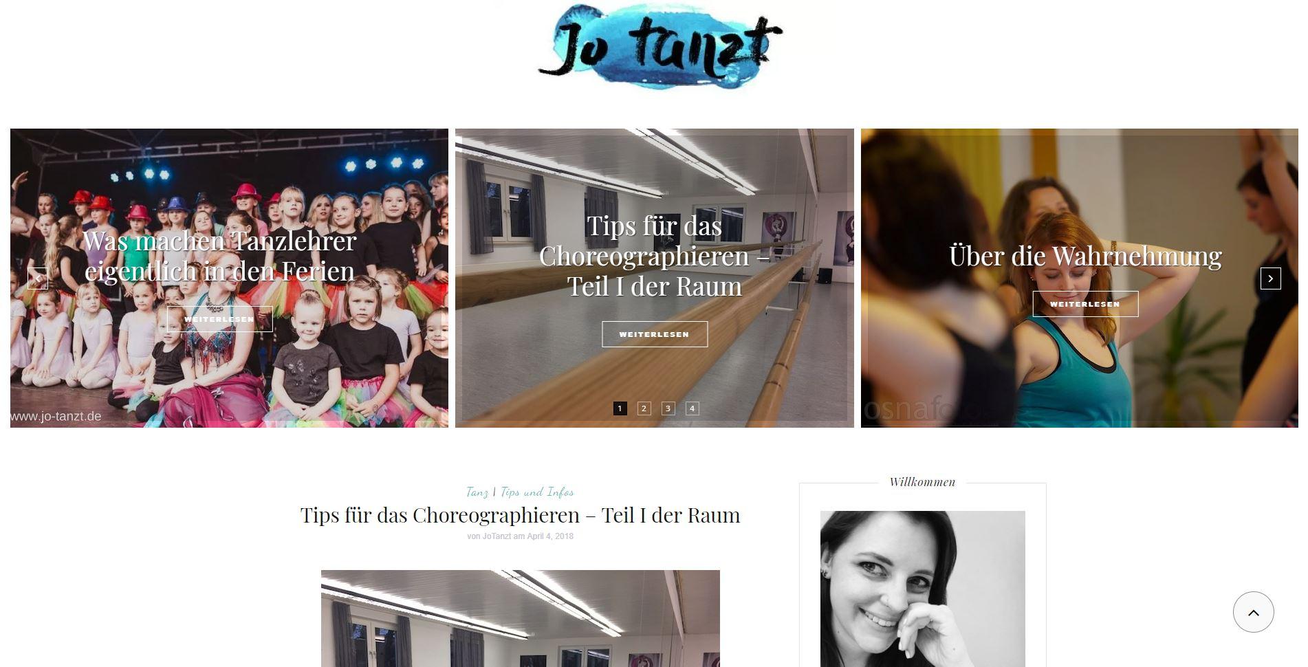 Screenshot Blog Jo tanzt