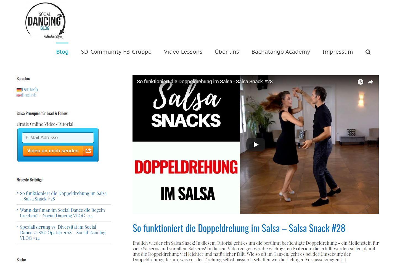 Screenshot Social Dancing Blog