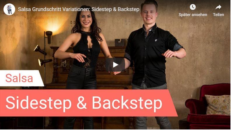 Salsa-Tanzlehrer tanzen Sidestep und Backstep