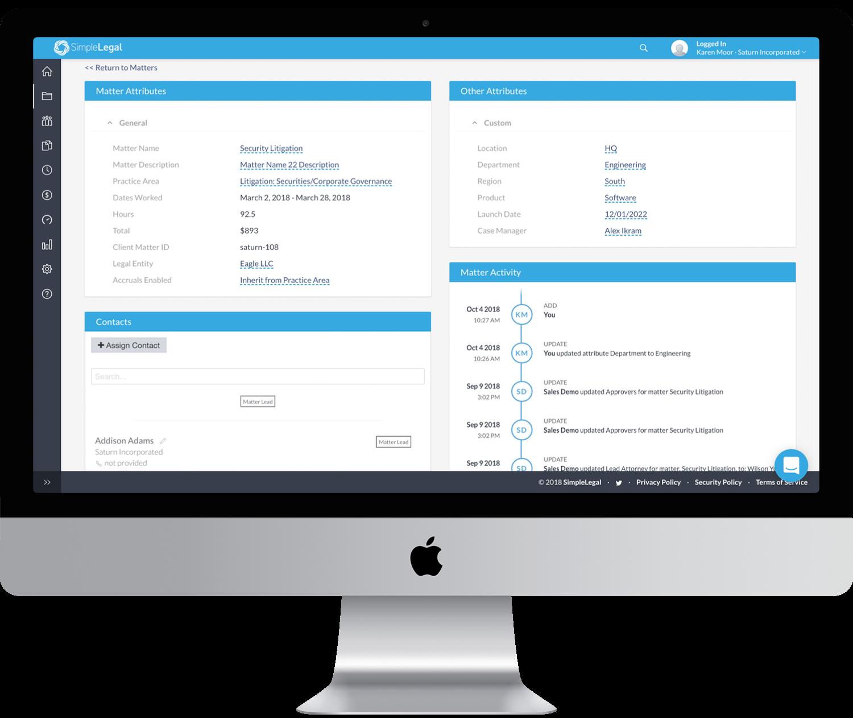 SimpleLegal Matter Management Screen