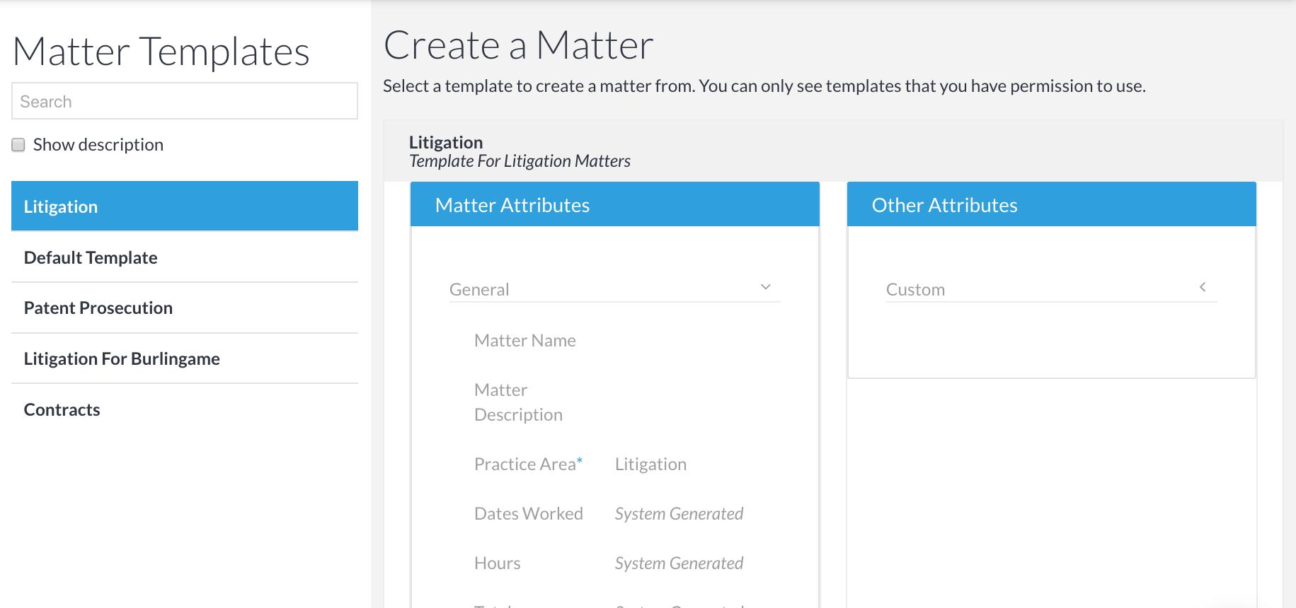 SimpleLegal Matter Templates