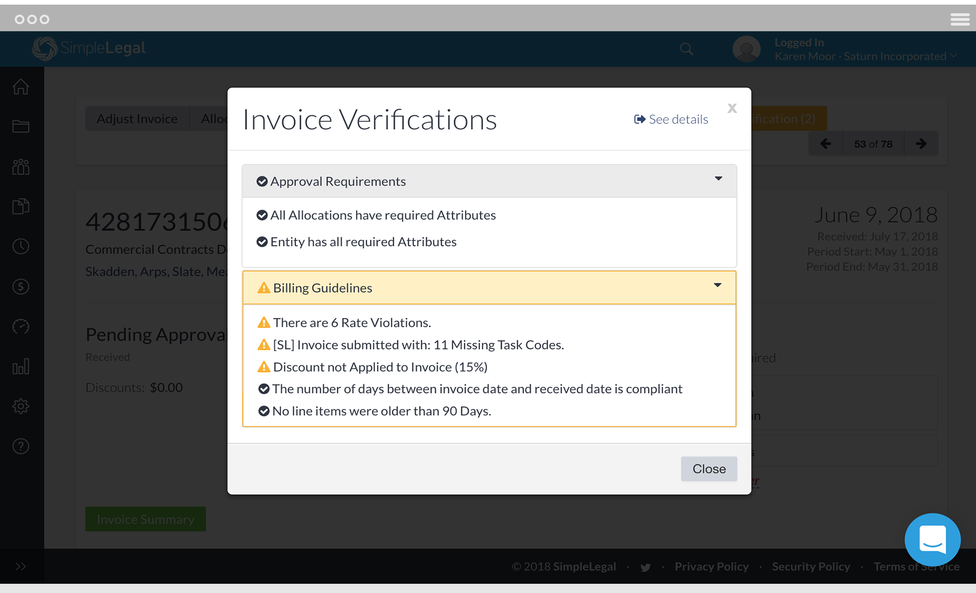 our latest feature intelligent invoice workflow uses configurable rules to programmatically enforce complex billing guidelines alternative fee