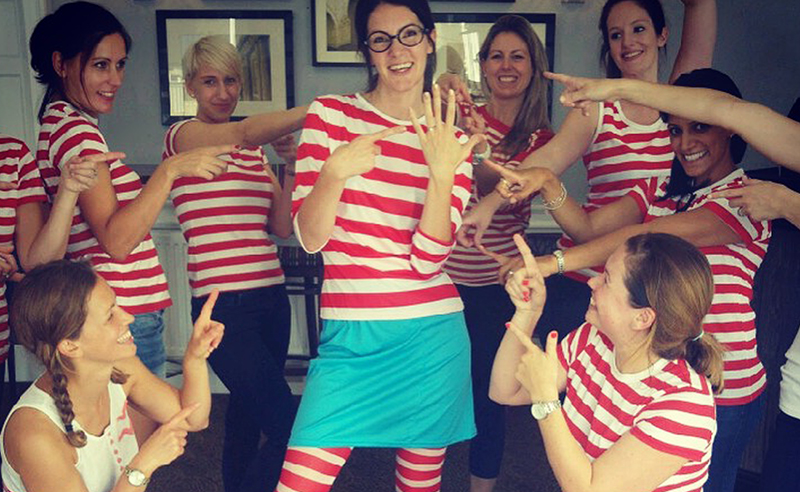 Amy Young dance hen party activities in Bristol daytime activity where's Wally theme