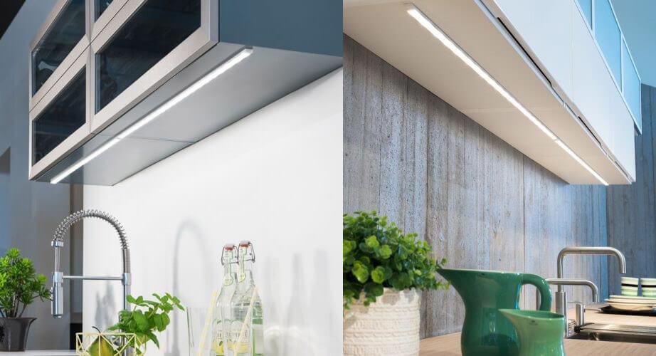 Snitt av kjøkken med smart LED-belysning.