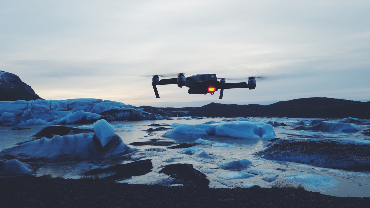 DJI Mavic flying over ice