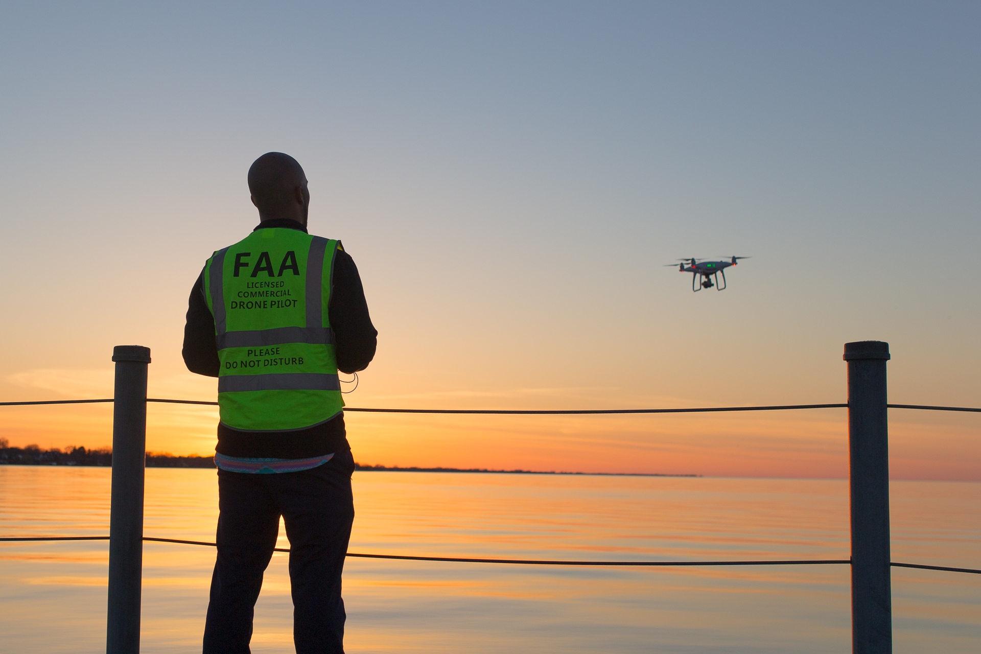 Drone Pilot With Drone in sight