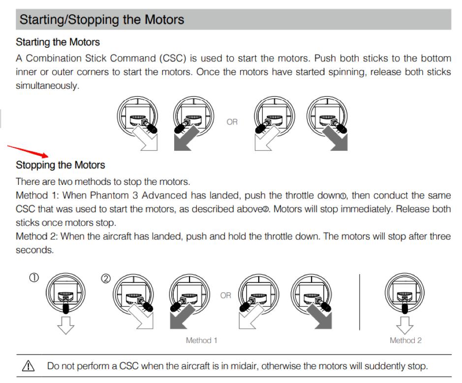 Screenshot of how to control drone motors