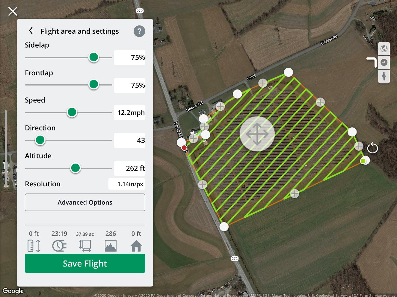 Grid flight screen in the MGC flight app