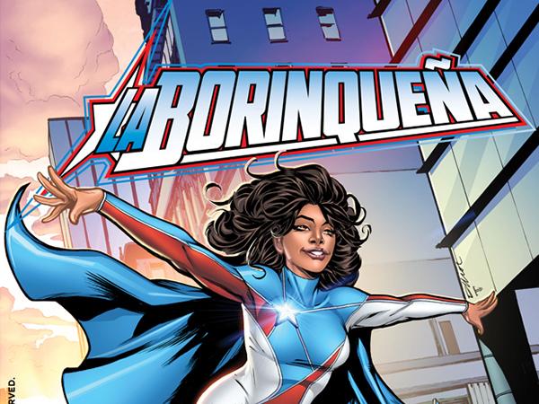 La Borinqueña Superhero flying over a crowd of people