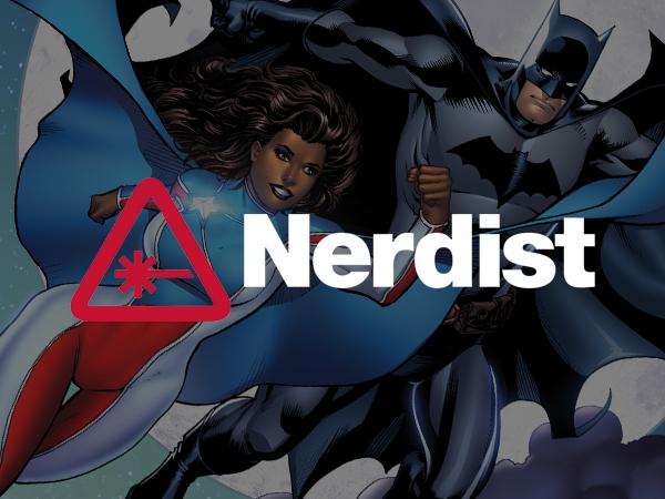 Cover image for La Borinqueña superhero and Batman in magazine Nerdist
